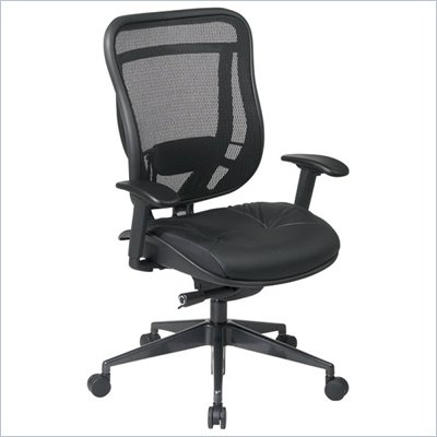 Office Star 818 High Back Chair w/ Leather Seat in Black/Gunmetal
