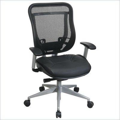 Office Star 818 High Back Chair w/ Leather Seat in Black/Platinum