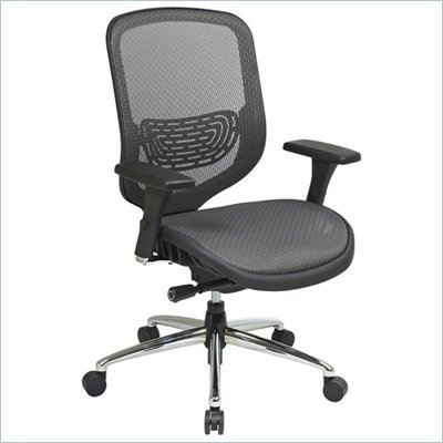 Office Star 829 Charcoal Mesh Seat & Back Chair in Black/Gunmetal
