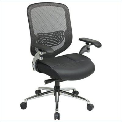 Office Star 829 Charcoal Leather Seat Mesh Chair in Black/Gunmetal