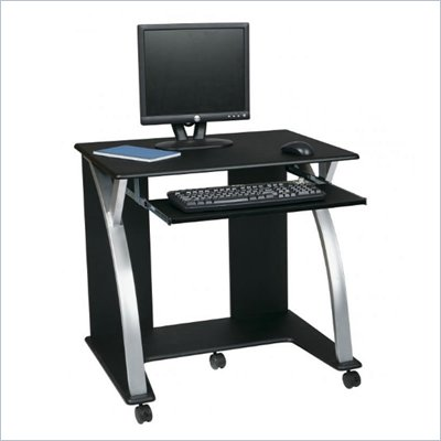 Office Star Saturn Computer Desk Black PVC Veneer in Black w/ Silver 