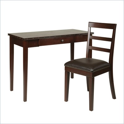 "Office Star Tucson 42"" Desk and Chair Set in Dark Espresso"