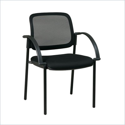 Office Star Screen Back Mesh Seat Visitors Chair in Black