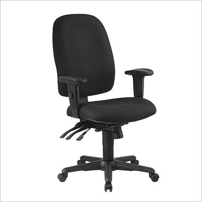 Office Star Work Smart Multi-Function Ergonomic Chair with Ratchet Back and Adjustable Soft Padded Arms