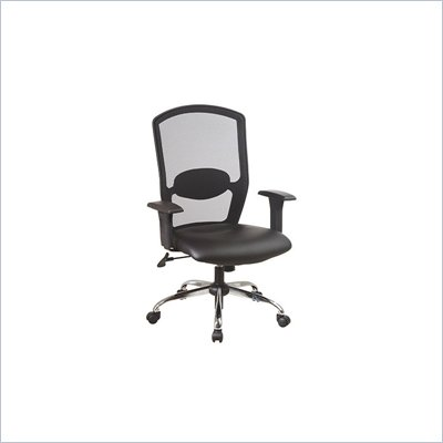 Office Star Screen Back Office Chair with Leather Seat in Black