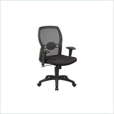 Office Star Screen Back Mesh Seat Chair with Adjustable Arms in Black