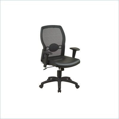 Office Star Mesh Back Leather Seat Chair with Adjustable Arms in Black