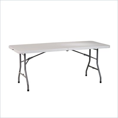Office Star 6' Resin Rectangular Multi Purpose Center Fold Table with Split Trestle Legs