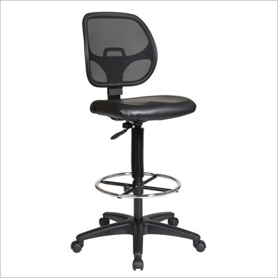 Office Star Deluxe Mesh Back Drafting Chair with Vinyl Seat