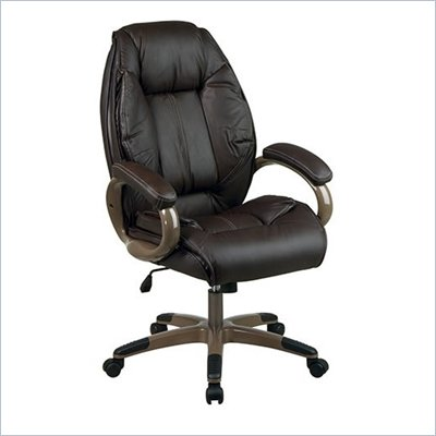 Office Star Executive Leather Chair in Espresso with Cocoa