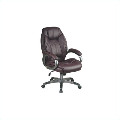 Office Star Executive Leather Chair in Wine with Pewter Coated Finish