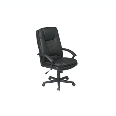 Office Star Deluxe High Back Executive Black Eco Leather Chair