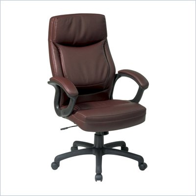 Office Star Executive High Back Mocha Eco Leather Chair
