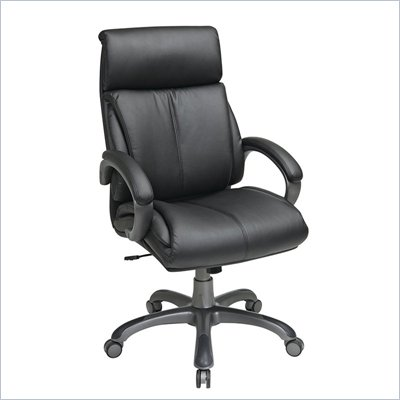 Office Star Executive Black Eco Leather Chair with Tilt Control