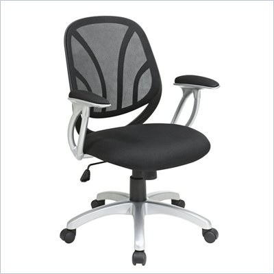 Office Star Screen Back Mesh Seat Managers Chair with Padded Arms