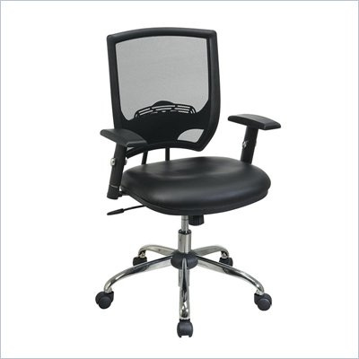 Office Star Screen Back Chair with Faux Leather Seat and Headrest