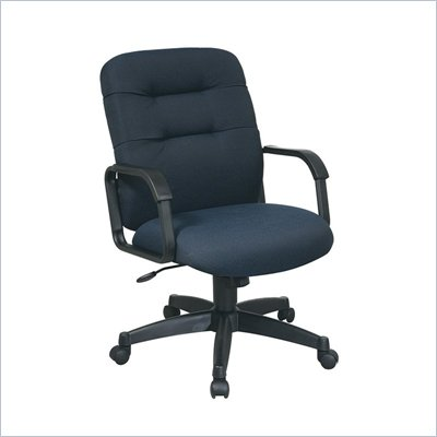 Office Star Executive Mid Back Managers Chair with Navy Fabric