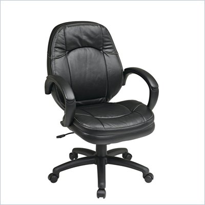 Office Star Deluxe Black Faux Leather Managers Chair with Padded Arms