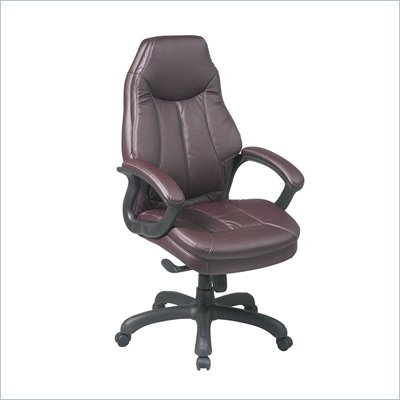 Office Star Deluxe Oversized Executive Burgundy Faux Leather Chair
