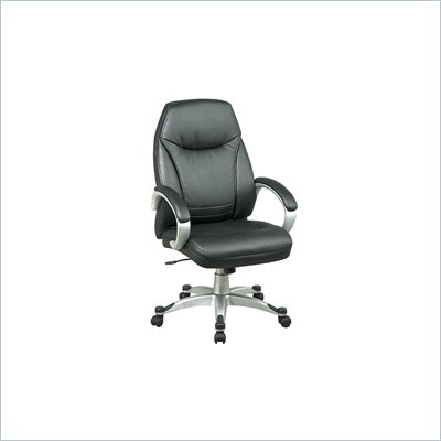 Office Star Deluxe Executive Faux Leather High Back Chair in Black