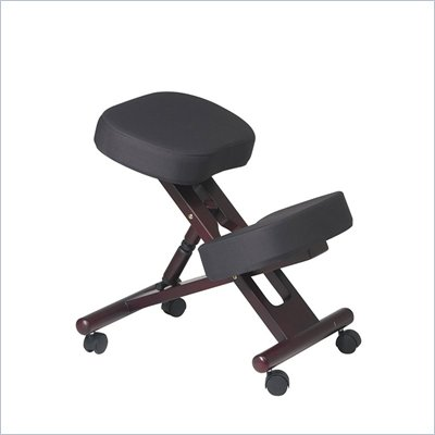 Office Star Ergonomic Wood Knee Chair with Memory Foam in Mahogany