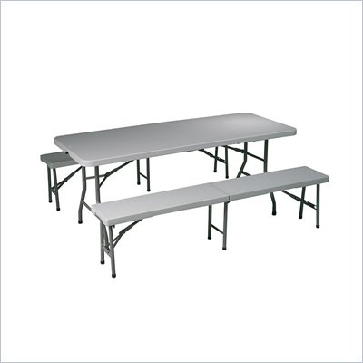 Office Star 3 Piece Folding Table and Bench Set