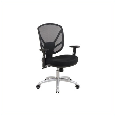 Office Star Screen Back 2-to-1 Synchro Tilt Office Chair with Aluminum Finish Base