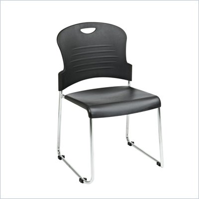 Office Star Sled Base Stack Chair with in Black (Set of 2)