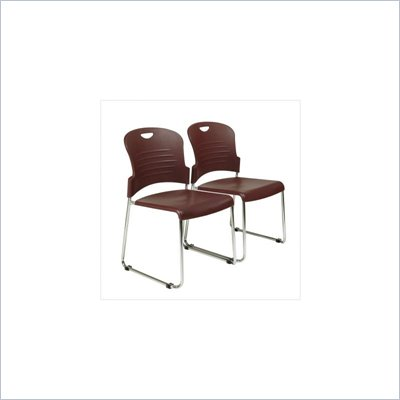 Office Star Sled Base Plastic Stack Chair in Burgundy (Set of 2)