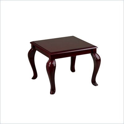 Office Star Queen Ann Traditional End Table in Mahogany Finish 
