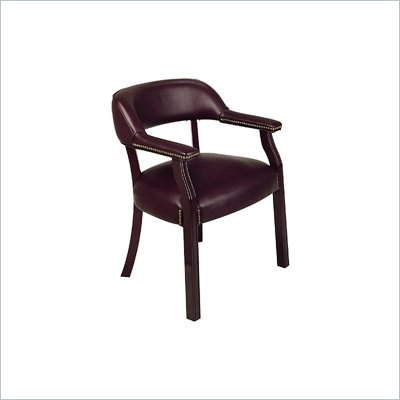 Office Star Traditional Guest Chair with Wrap Around Back in Oxblood