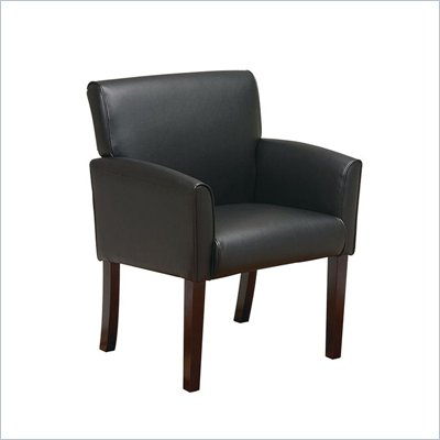 Office Star Black Vinyl Guest Chair with Mahogany Legs
