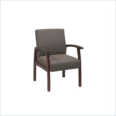 Office Star Deluxe Guest Chair with Taupe Fabric in Cherry Finish