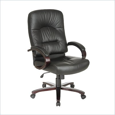 Office Star Desk Office Chair with Mahogany Finish Wood Base and Arms