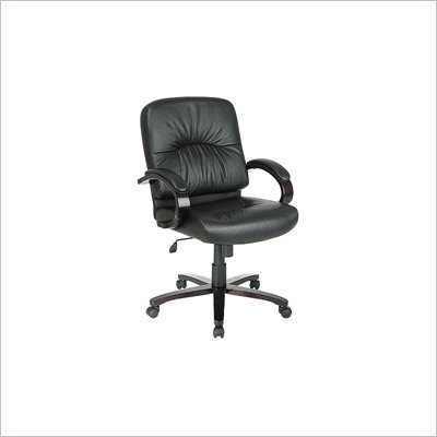 Office Star Black Mid Back Executive Leather Chair with Mahogany Finish Wood Base and Arms