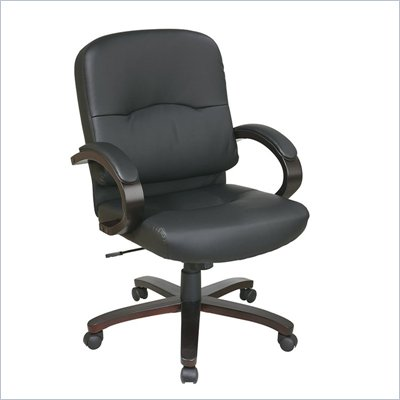 Office Star Eco Leather Mid Back Chair with Espresso Finish Wood Base