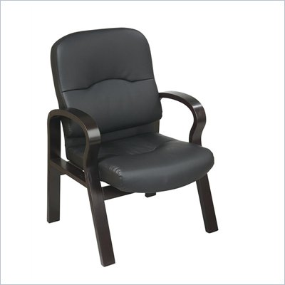 Office Star Eco Leather Visitors Chair with Espresso Wood Base