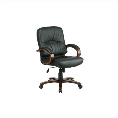 Office Star Mid Back Executive Leather Chair with Cherry Finish Wood Base and Arms