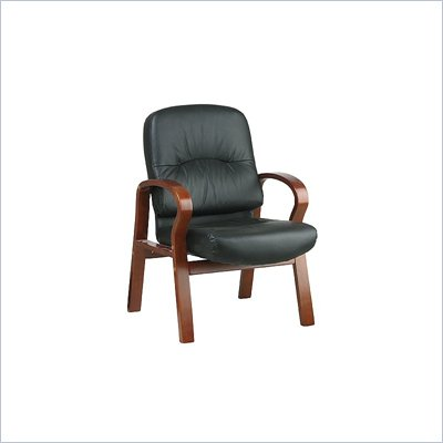 Office Star Leather Visitors Chair with Cherry Finish