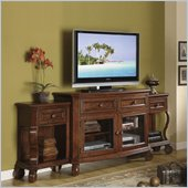 Riverside Furniture Cape May TV Stand with End Units in Chadwick Cherry