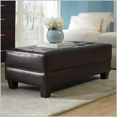 Riverside Furniture Leather Large Cocktail Storage Ottoman in Brown