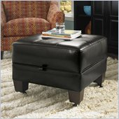 Riverside Furniture Leather Occasional Small Storage Cocktail Ottoman in Black