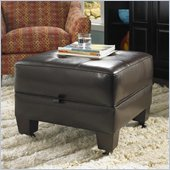 Riverside Furniture Leather Occasional Small Storage Cocktail Ottoman in Brown