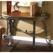 Riverside Furniture Stone Forge Demilune Sofa Table in Tuscan Sun