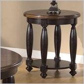 Riverside Delcastle Round End Table in Aged Black finish
