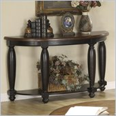 Riverside Delcastle Demilune Sofa Table in Aged Black finish