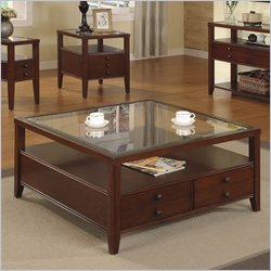 Riverside Furniture Avenue Square Cocktail Table in Dark Cherry