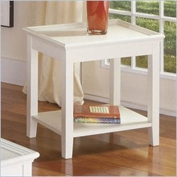 Riverside Splash Of Color Tray Top End Table in Shores White Best Price