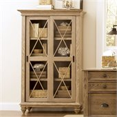 Riverside Furniture Coventry Sliding Door Bookcase in Weathered Driftwood