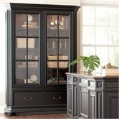 Riverside Furniture Allegro Sliding Door Bookcase in Rubbed Black